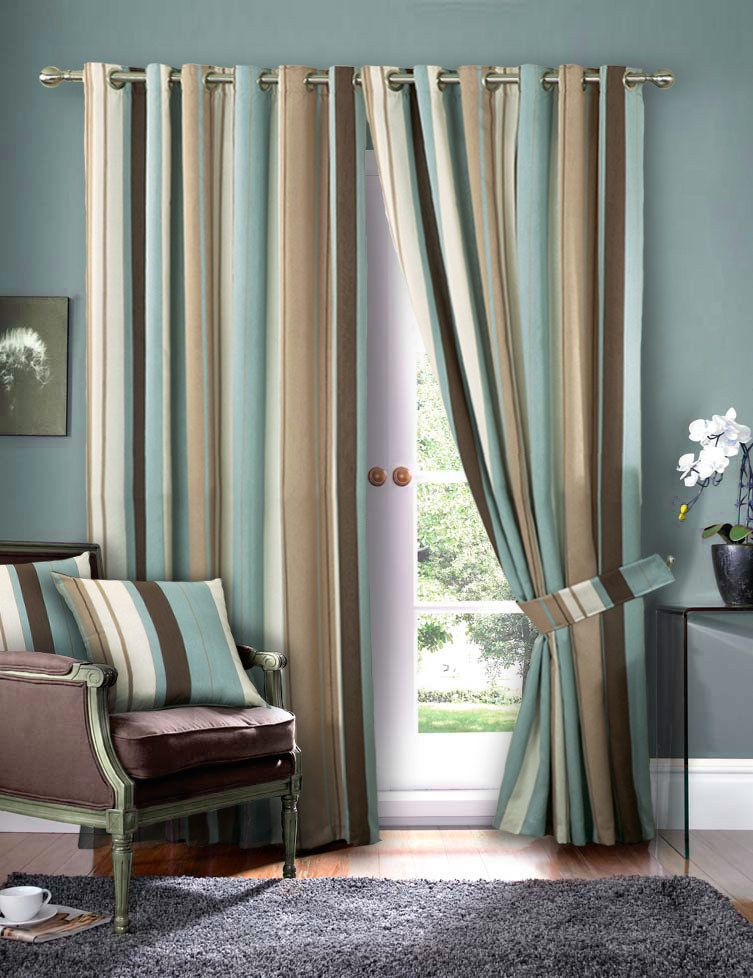 Striped Faux Silk Curtains Duck Egg Blue Cream Eyelet Lined
