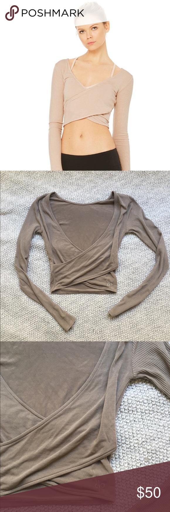 1534fe2a48a07 Alo yoga Amelia long sleeve Crop Never been worn. Gravel Amelia long sleeve  top. ALO Yoga Tops Crop Tops