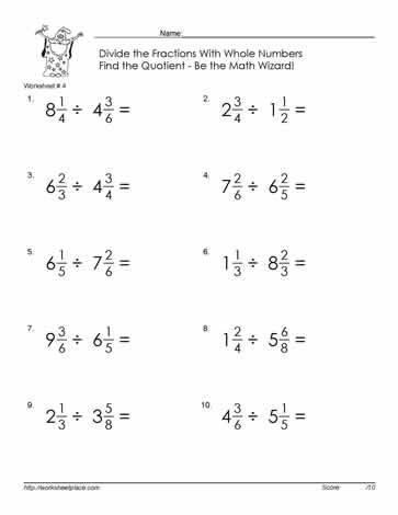Divide Mixed Number Fractions 4 Math Fractions Worksheets Fractions Mixed Numbers