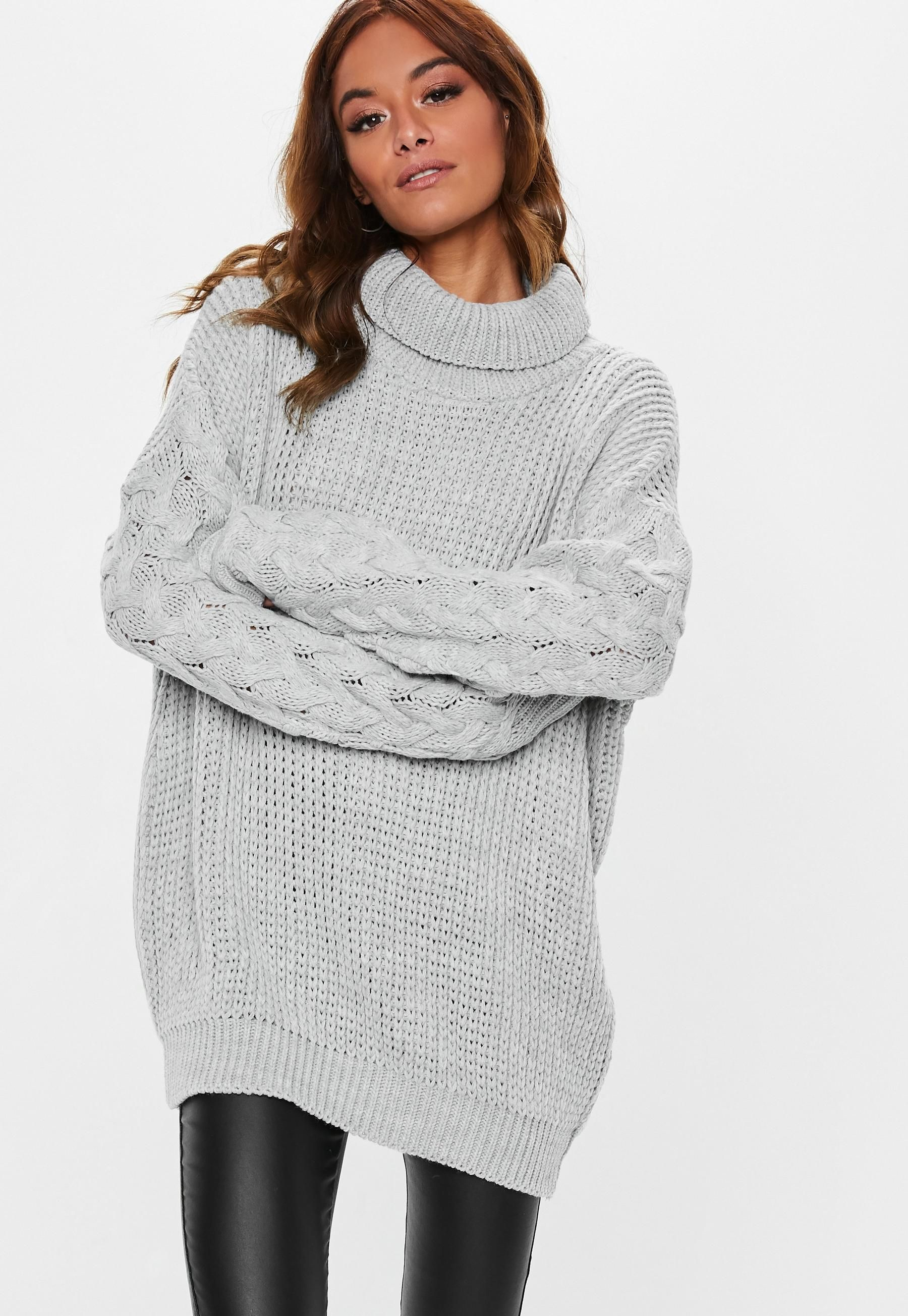 4a938eedd72 Missguided - Grey Roll Neck Cable Longline Jumper in 2019 | Wardrobe ...