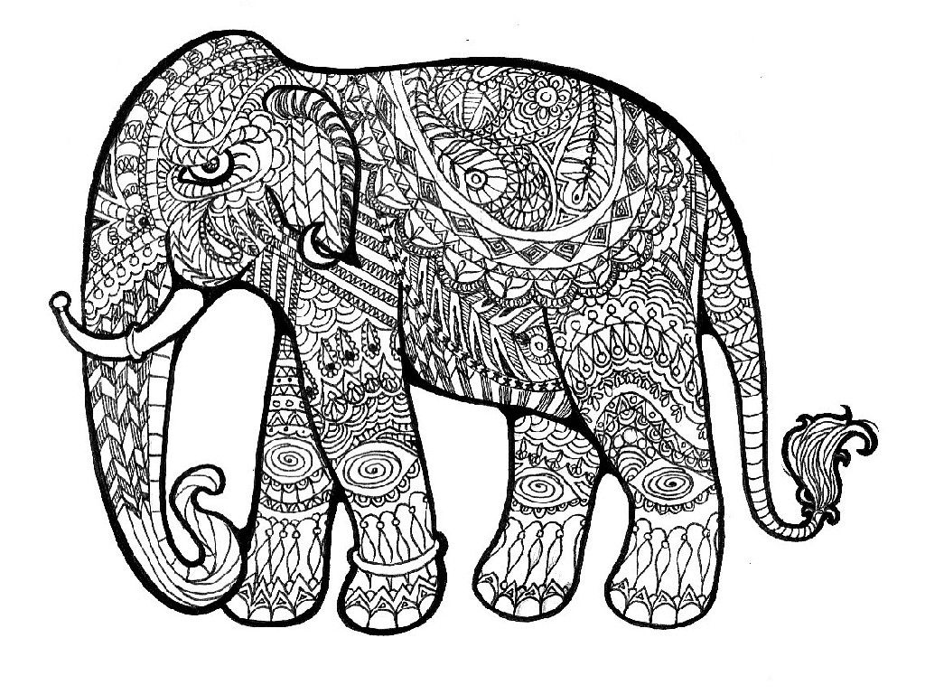 Gambar Challenging Elephant Coloring Page Cool Designs To Color ...