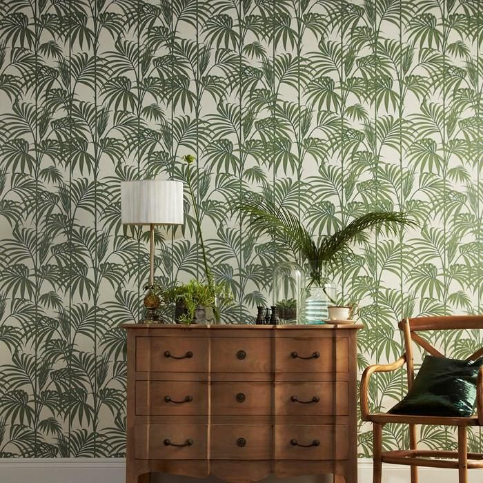 Honolulu Wallpaper in Palm Green by Julien MacDonald for Graham & Brow