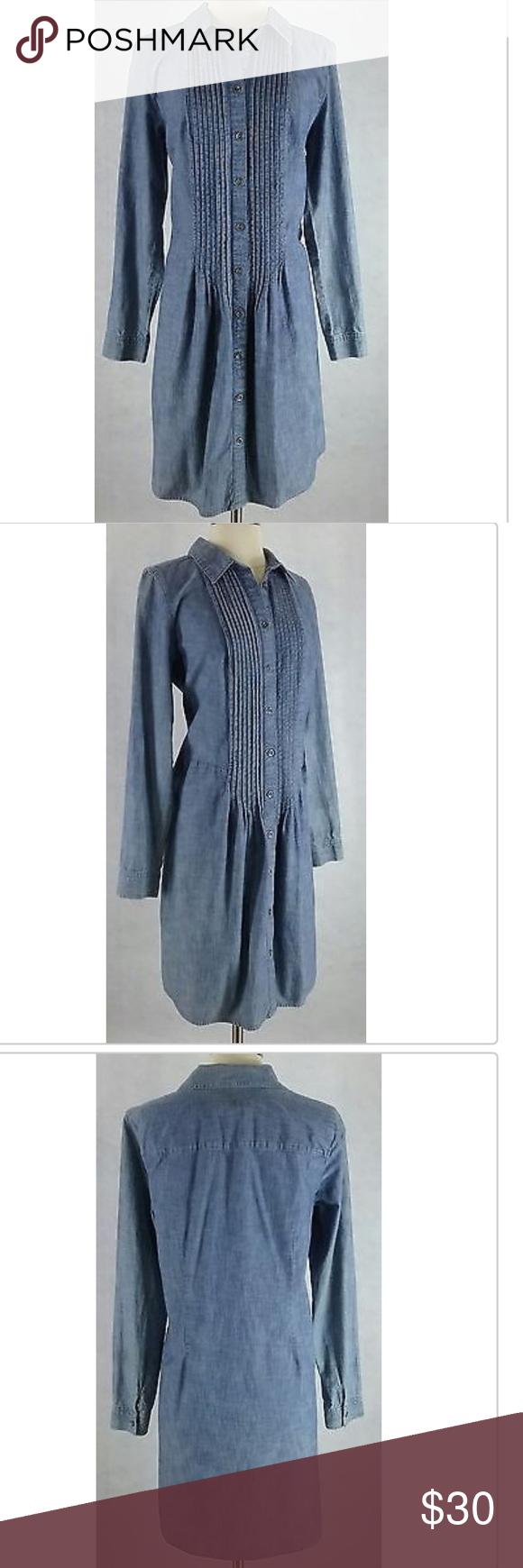 J.Jill Denim dress J.Jill  XSmall Blue Denim Silver Button Pleat Long Sleeve Jean Shirt Dress. 100% Cotton. J. Jill Dresses Long Sleeve