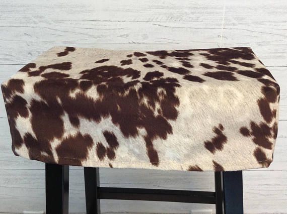 Faux Cow Fur Saddle Stool Seat Cover Rectangular Cushion Kitchen Counter Slipcover Washable Cream With Brown Spots The Cows Will Jump Over