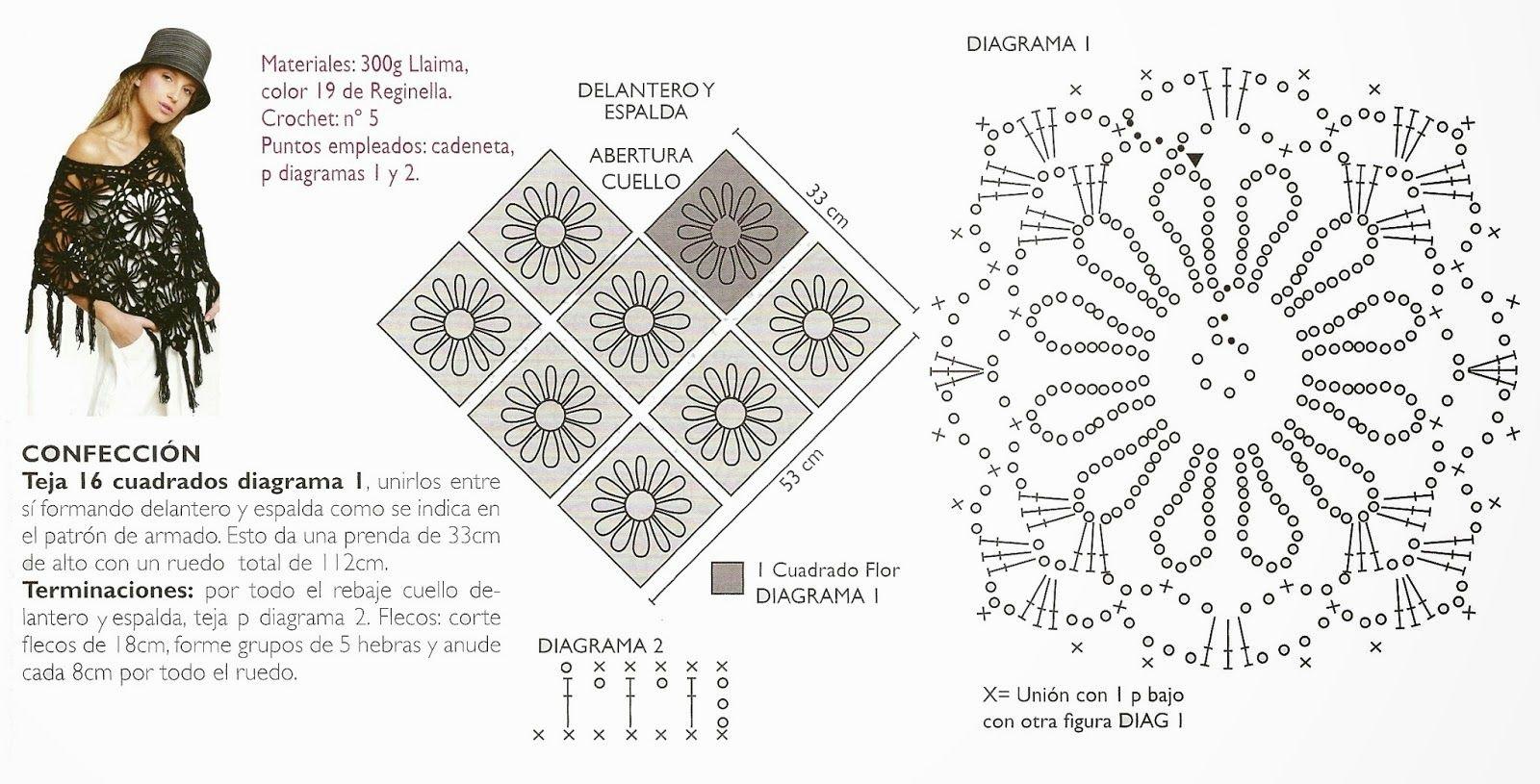 Poncho con dibujos de flores patron - Patrones Crochet | Muestras ...