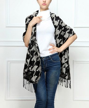 Another great find on #zulily! Black & Gray Houndstooth Fringe Shawl #zulilyfinds