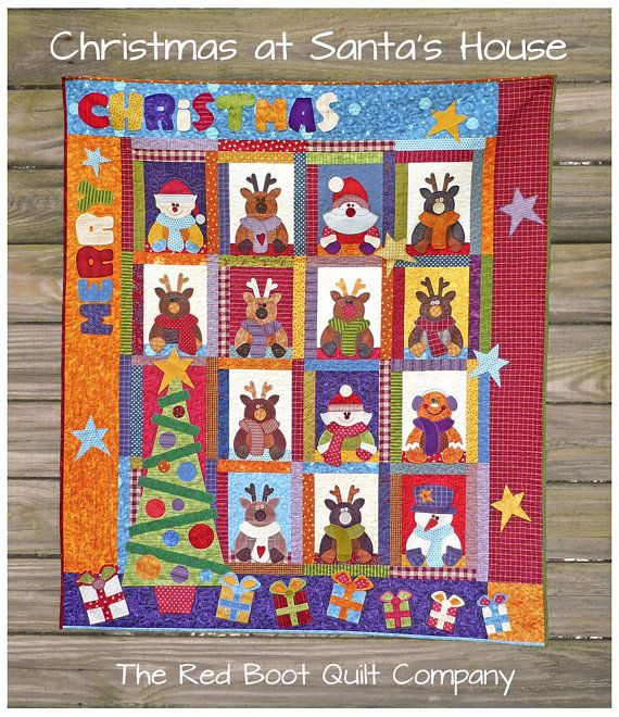 PRINTED Pattern  Christmas at Santa's House E by TheRedBootQuiltCo, $14.00