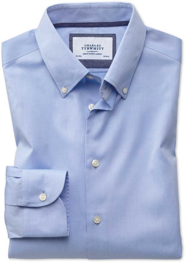 6a78b474c84 Charles Tyrwhitt Classic Fit Button-Down Business Casual Non-Iron Sky Blue  Cotton Dress Shirt Single Cuff Size 15 33