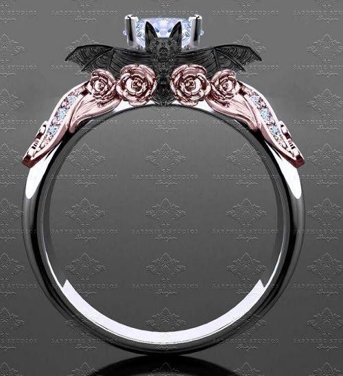 Bat Engagement Ring Skull Wedding Ring Black Gold Jewelry Gothic Wedding Rings