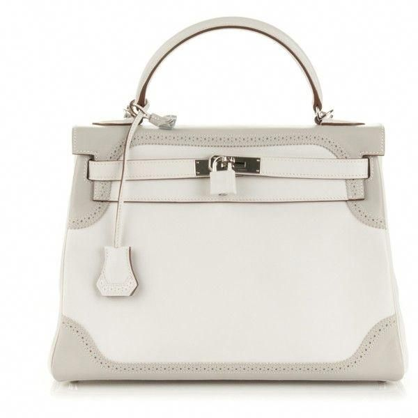 1f3654f1ee54 HERMES Togo Swift Ghillies Kelly 32 Blanc White Gris Perle ❤ liked on  Polyvore featuring bags