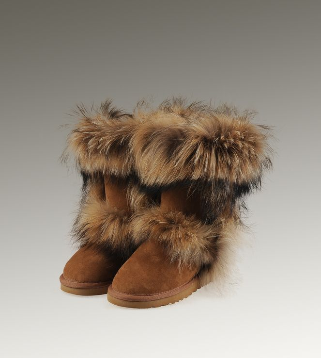 women ugg fox fur short boots chestnut cheap uggs hot sale rh in pinterest com