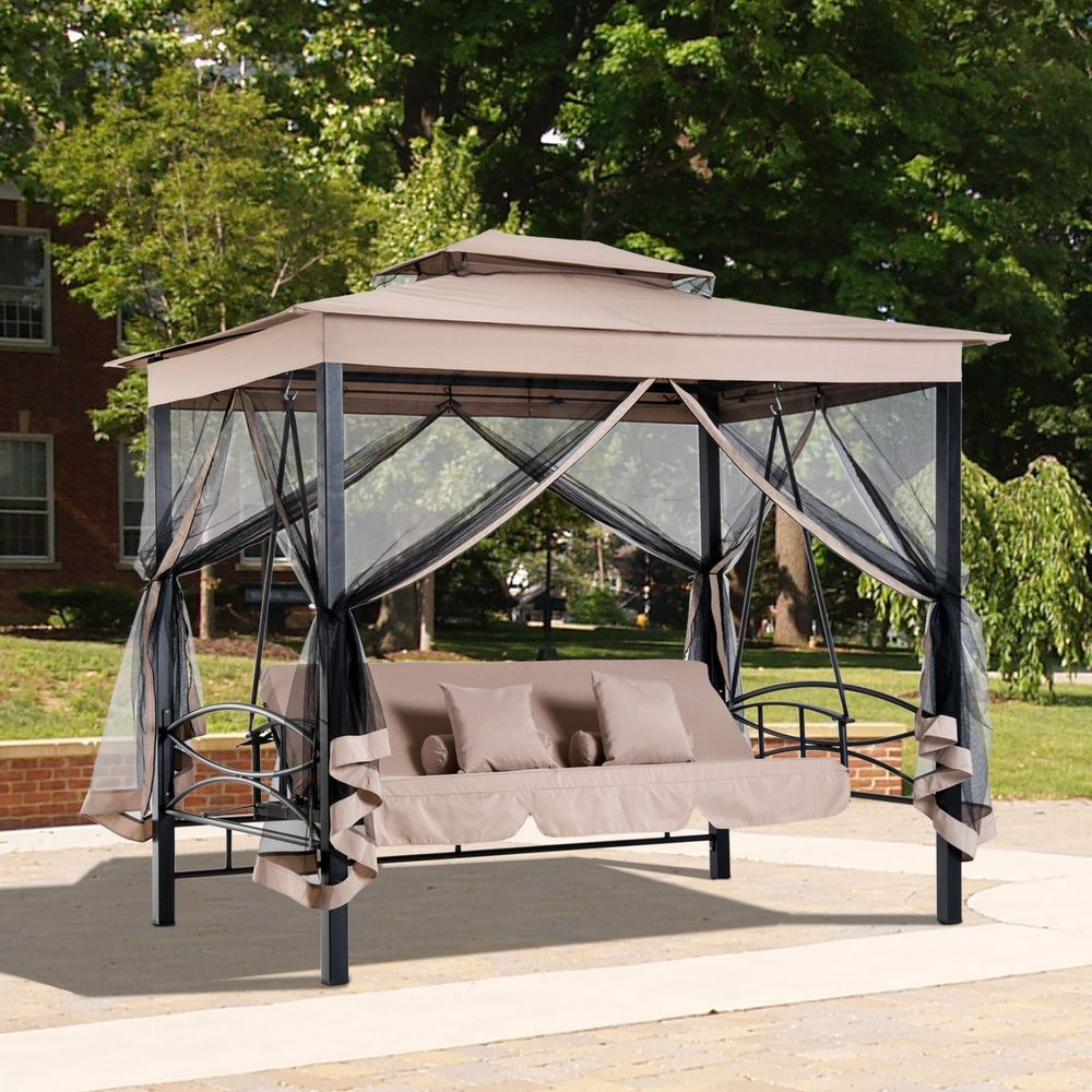 Outdoor Gazebo Swing 3 Person Steel Canopy Daybed Mesh Walls