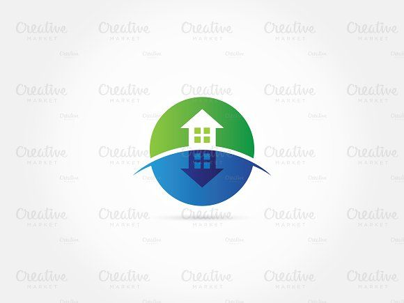 Shadowed green home logo by afahmy on @creativemarket
