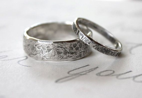 rustic wedding band ring set custom recycled silver wedding rings