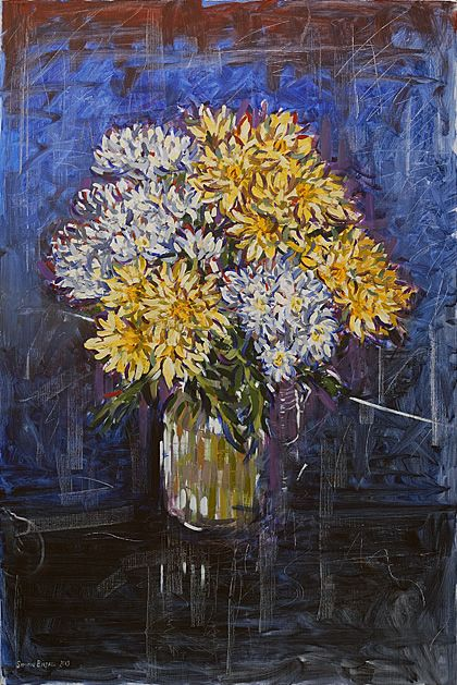 'Flowers (for Kath)'. Painting in oils on canvas by Simon Birtall.