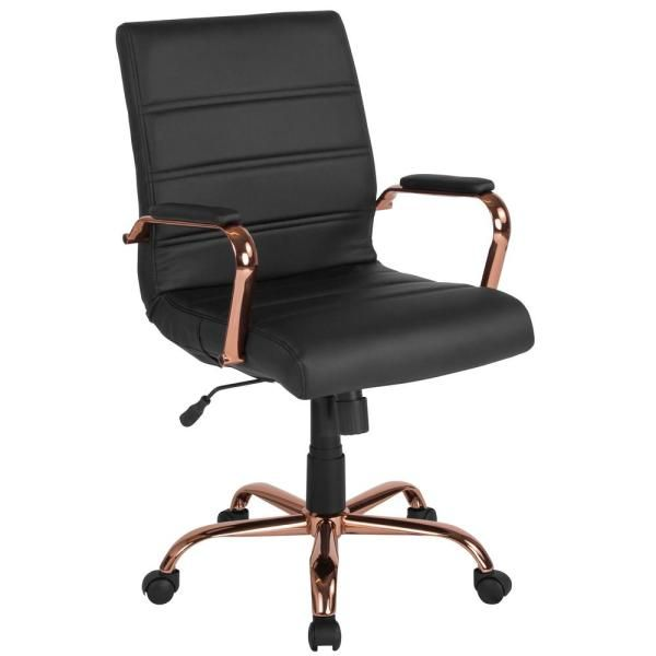 Flash Furniture White Leather Rose Gold Frame Office Desk Chair Go2286mwhrsgld The Home Depot In 2020 Black Office Chair Leather Office Chair Swivel Office Chair