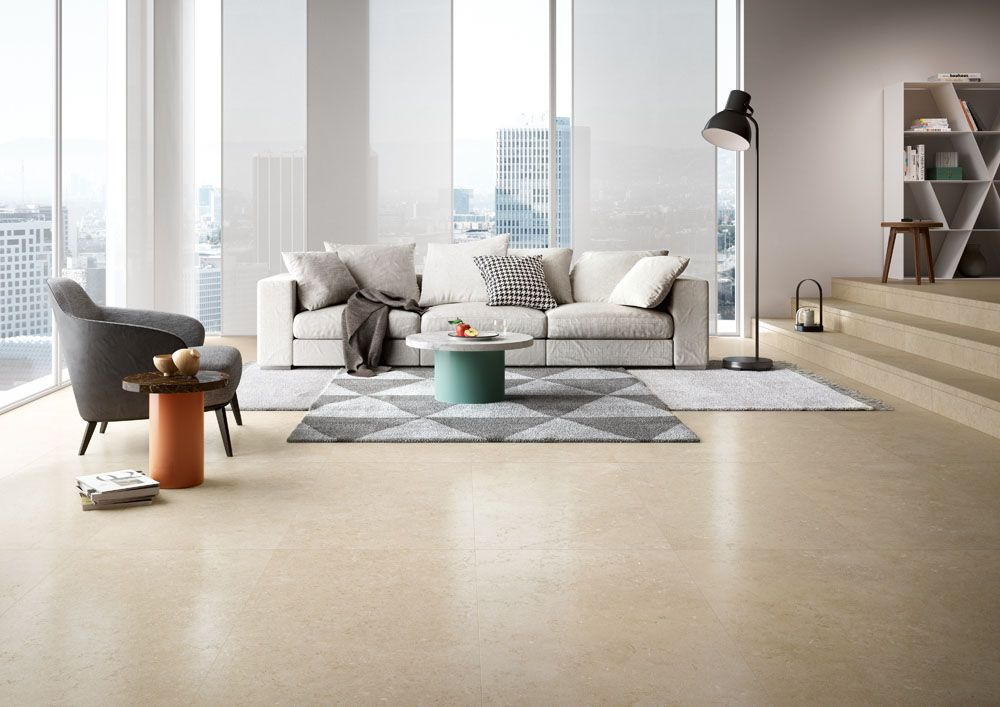 Minimal And Cosy Living Space With Floor Tiles From The Secret Stone Collection By Cotto D Este Farver #stone #flooring #living #room