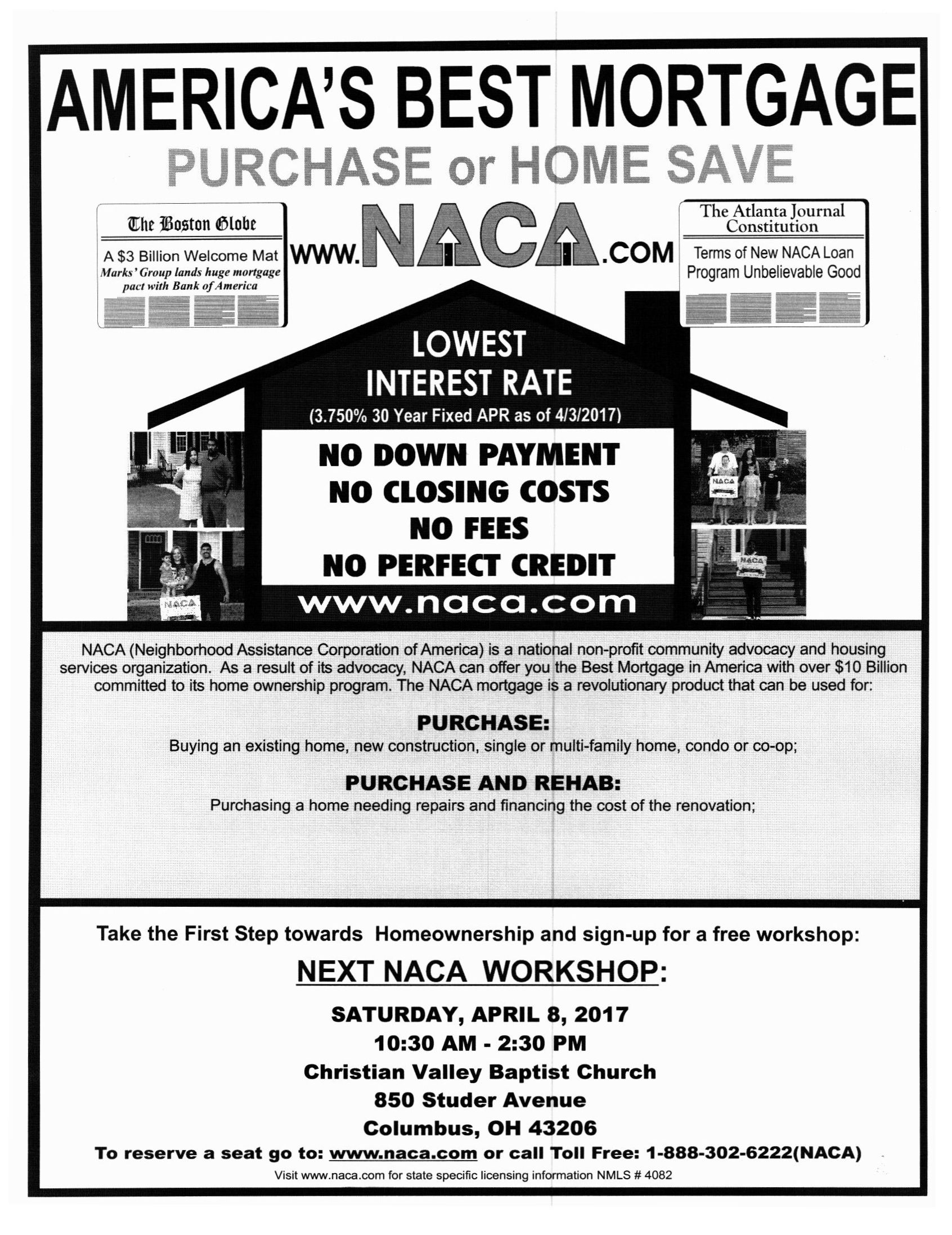 Attention Columbus Oh Homebuyers Naca Will Conduct An