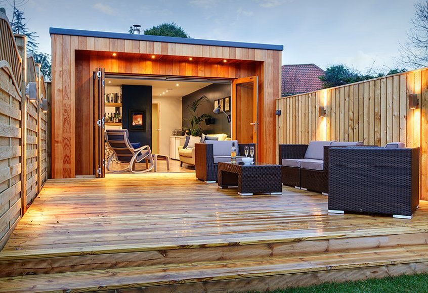 "Backyard Man Cave Designs forget the man cave looks this stylish ""she shed"" cave for women"
