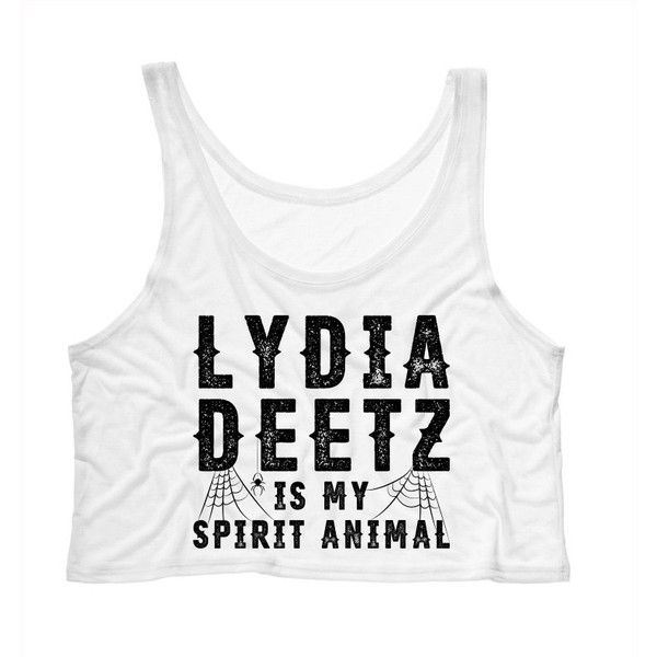 Cropped Tank Top Lydia Deetz Is My Spirit Animal (Beetlejuice)... ($15) ❤ liked on Polyvore featuring tops, tanks, white, women's clothing, crop top, white crop tank, white crop top, animal print tops and white tank