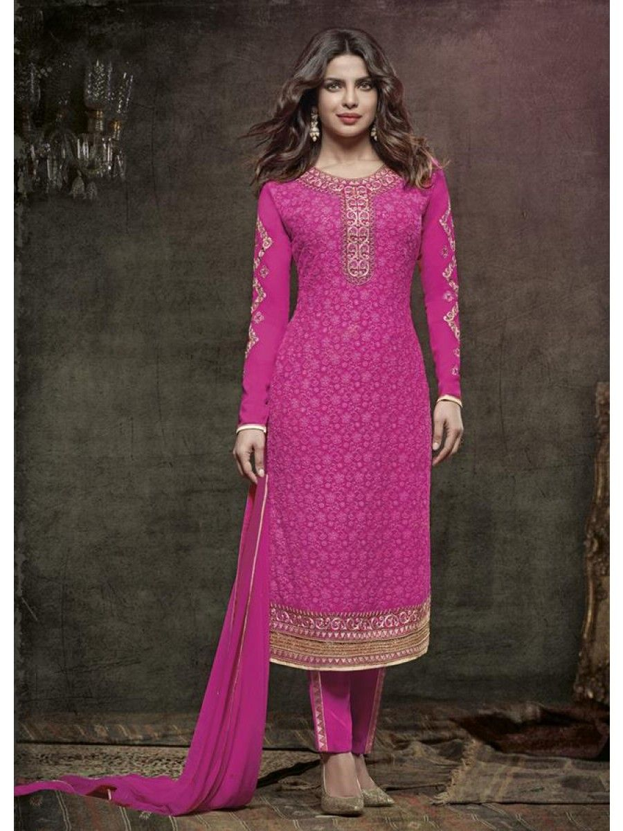Viscose Georgette A-Line Suit Featuring Priyanka Chopra ...