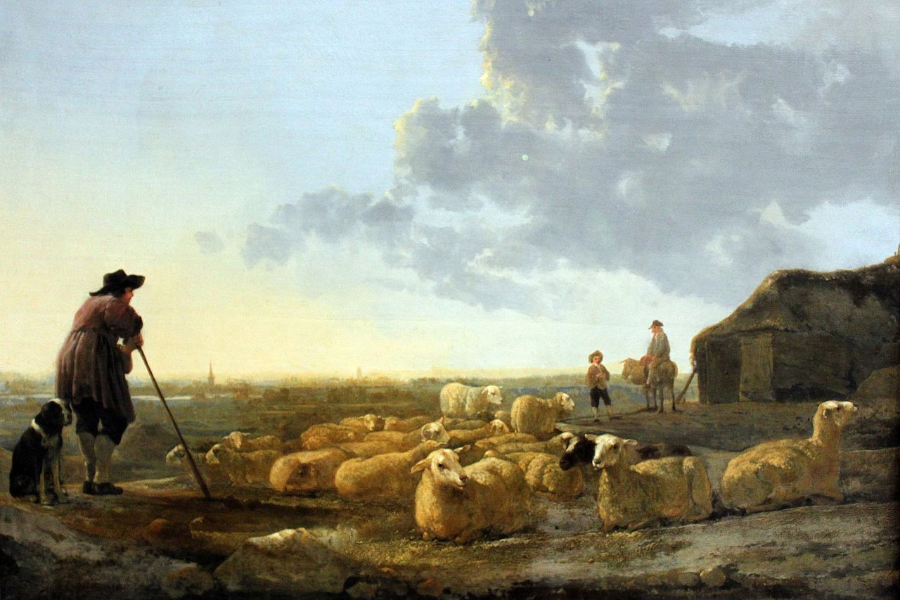Aelbert Cuyp Dutch Golden Age Landscape Painter 1620 1691 Herd Of Sheep At Pasture Circa 1645 Oil Folk Art Painting Paintings Famous Fine Art Painting Oil