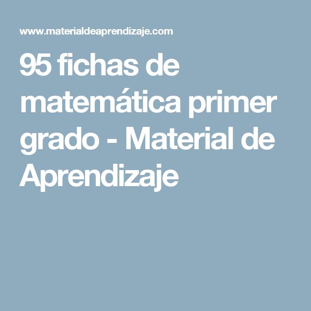 95 fichas de matemática primer grado - Material de Aprendizaje ...