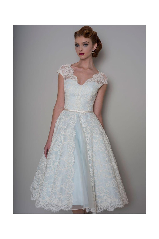 Loulou bella tea length lace blue short wedding dress with cap loulou bella tea length lace blue short wedding dress with cap sleeve ombrellifo Choice Image