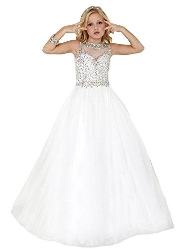 Sumeiyue Girls White Scoop Beaded Crystal Full Party Gown Pageant
