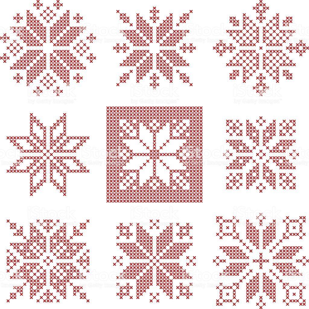 Ensemble de 9 flocons de neige au point de croix, style scandinave ….   – etamin