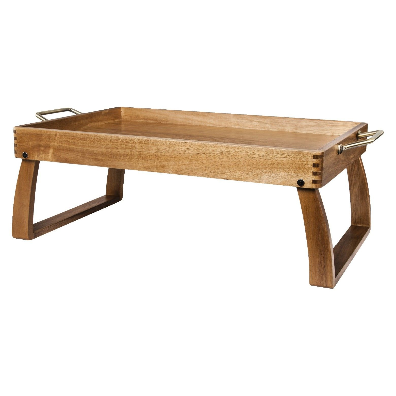 Take Breakfast In Bed Up A Notch With The Charming Threshold Acacia Bed Tray This Stylish Serving Tray Features Metal Side Han Bed Tray Diy Bed Tray Bed Table