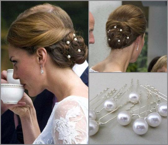 set of 10 kate middleton inspired bridal pearl hairpins wedding pearl hair pins bridal