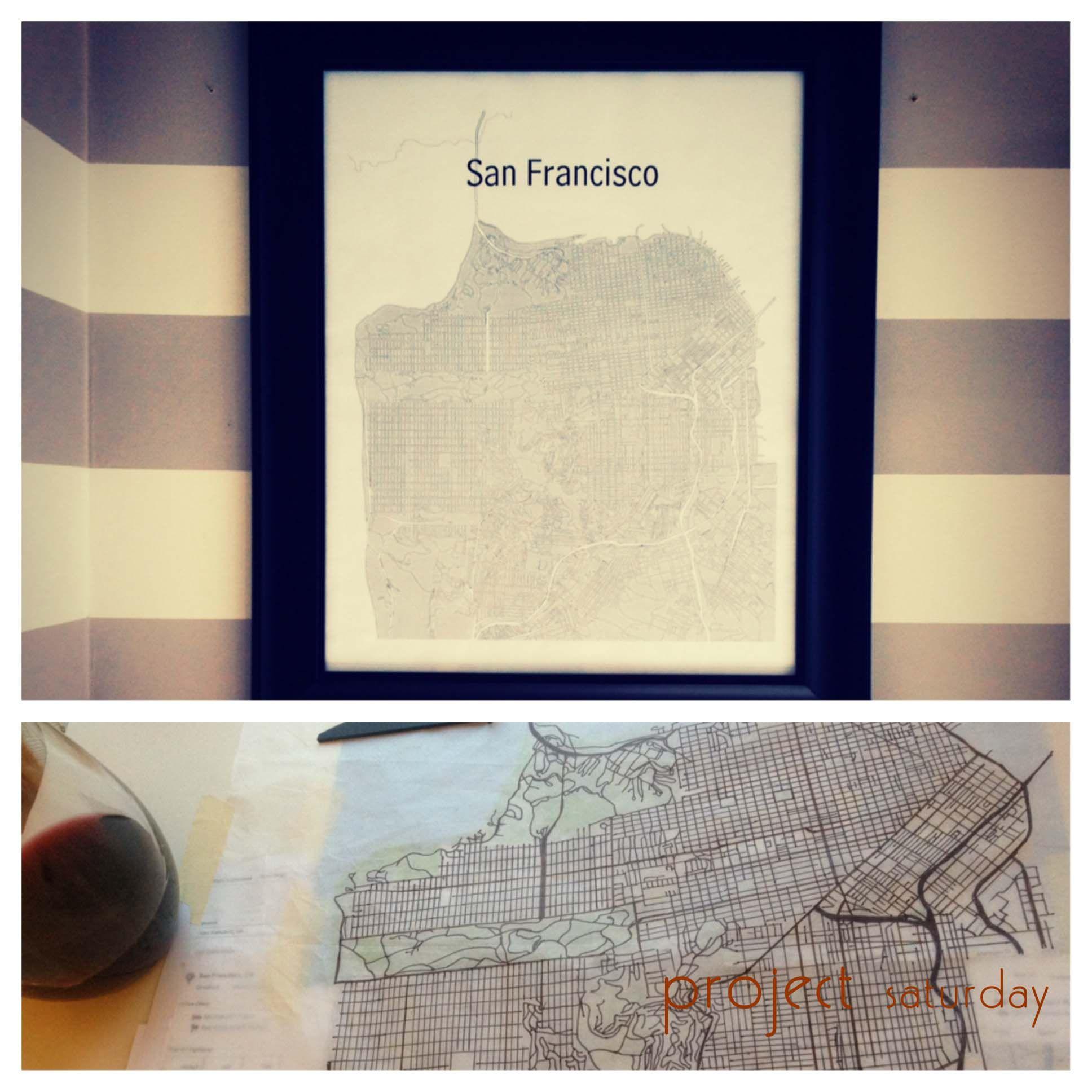 DIY SF Map Custom Framed Art Project Saturday DIY Projects