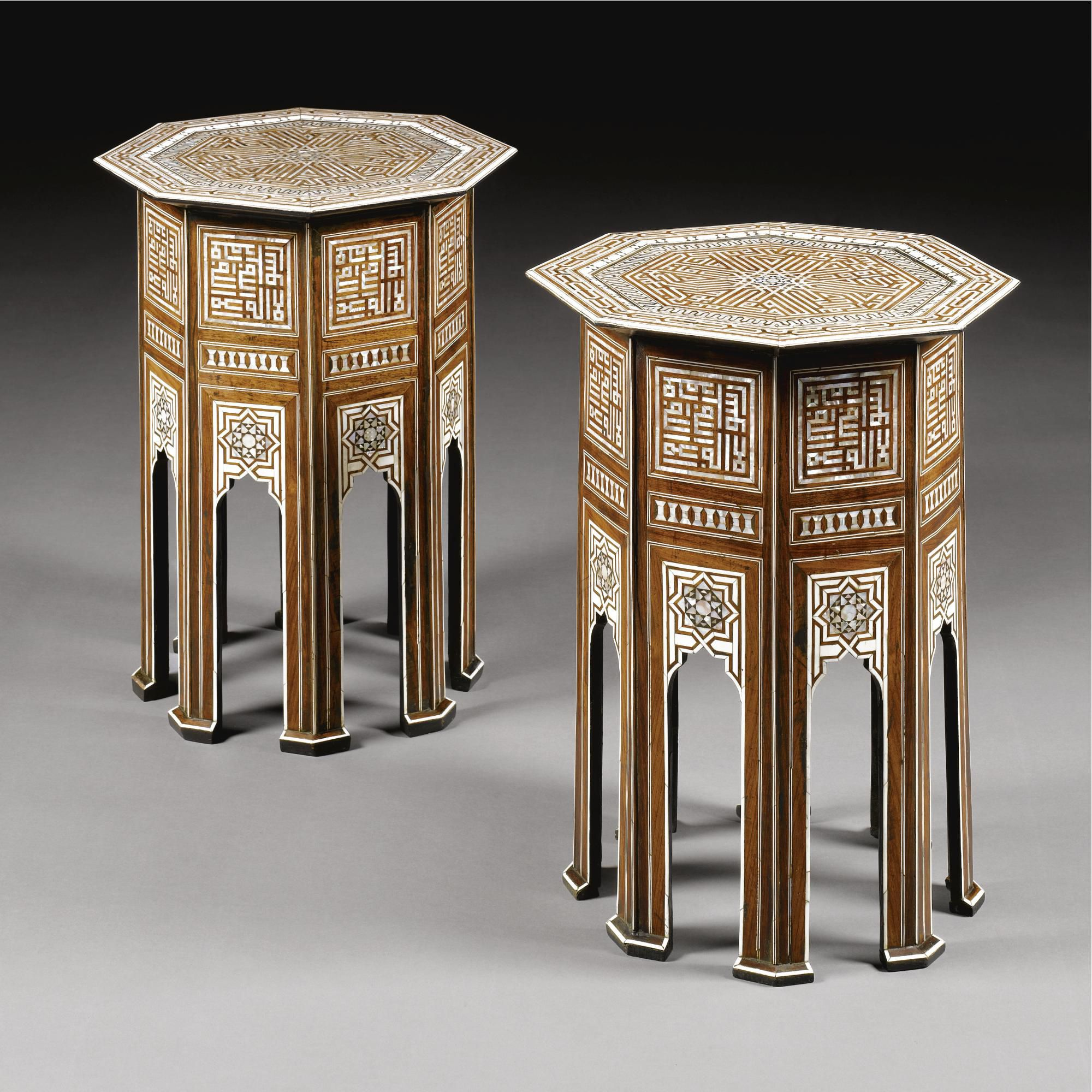 A Pair Of Mother Of Pearl And Ivory Inlaid Octagonal Coffee Tables