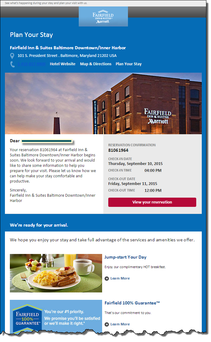 Fairfield Inn sent this triggered message five days before