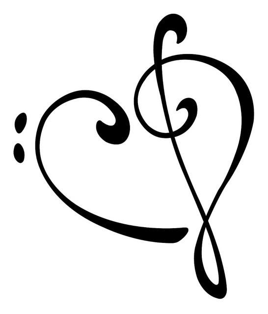 musical heart vectorized tattoos piercings pinterest treble rh pinterest com bass and treble clef heart necklace bass and treble clef heart tattoo meaning
