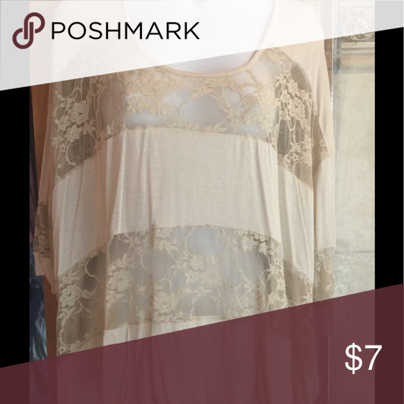 Cream lace top Cute lace detailed top Sparkle and Fade Tops Blouses