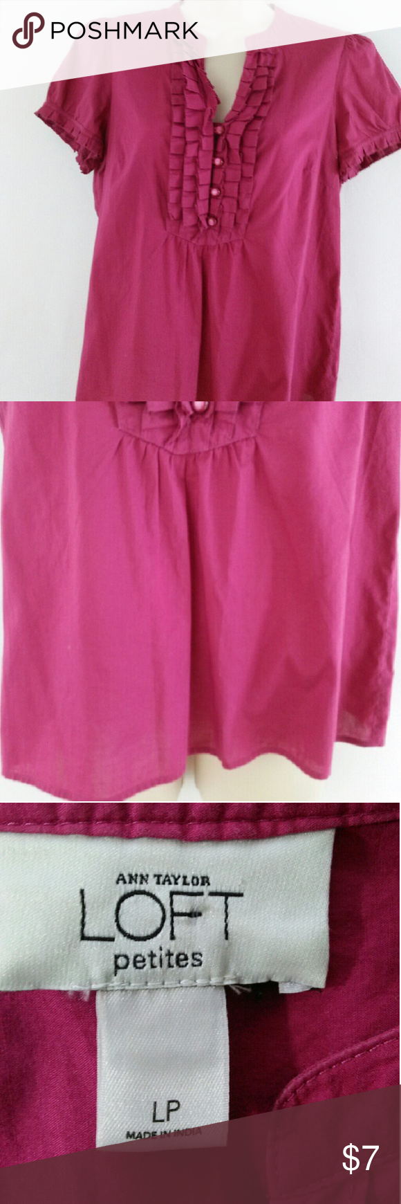 Ann Taylor / Loft plum wine colored blouse A pretty purple color that can be worn to the office or after. The bust is 40 inches. The length is 23 inches. It is a size large petite. Bundle and save on shipping Ann Taylor Tops Blouses