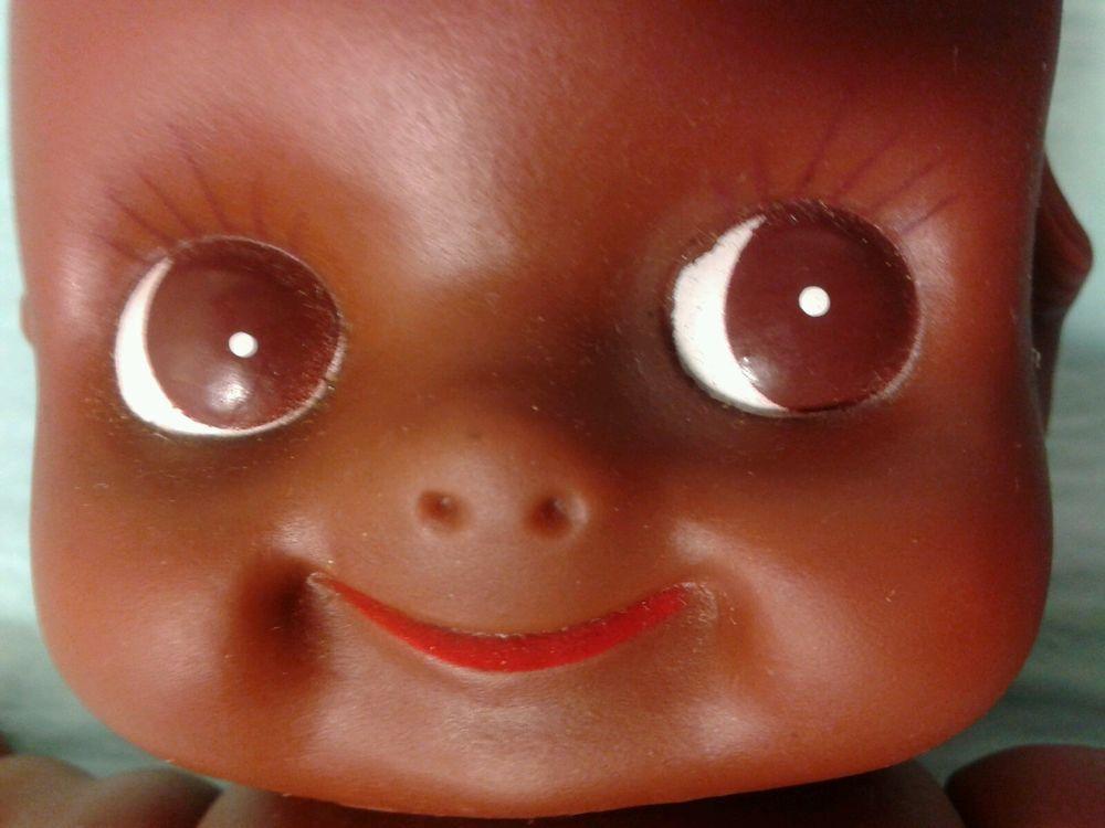 """Vintage Kewpie Doll African American Black Wings 9"""" Rubber Baby Poseable…"""