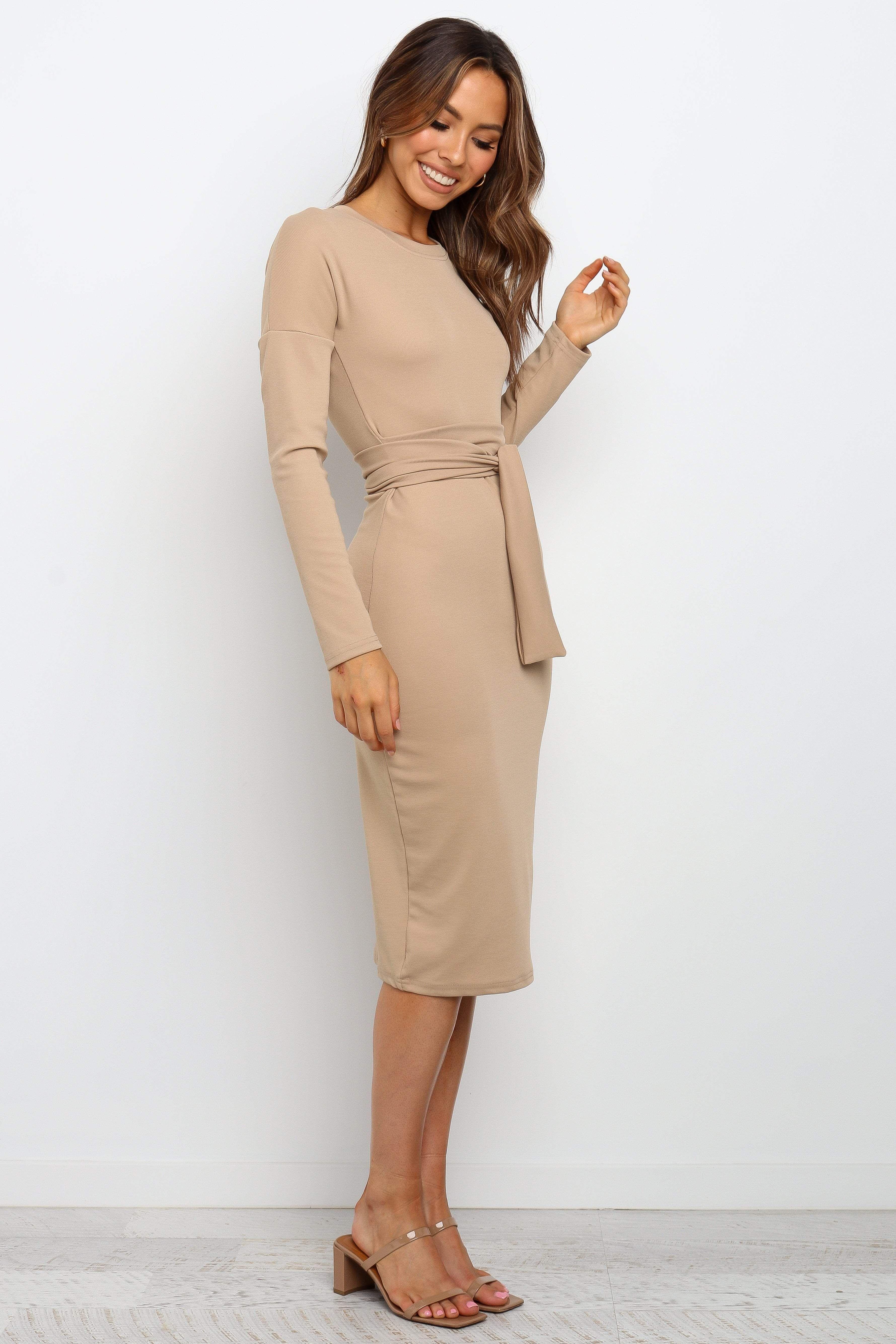 Baylee Dress Beige S Work Dresses For Women Dresses Dresses For Work [ 5338 x 3559 Pixel ]