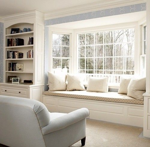 """Under Window Seating lovely idea with facing sofa. add """"flat drawers"""" under window seat"""