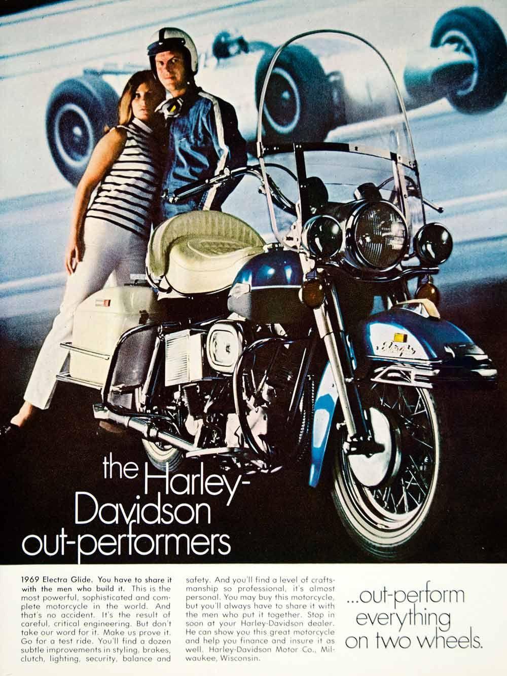 1968 Ad Vintage 1969 Harley Davidson Electra Glide Blue Motorcycle