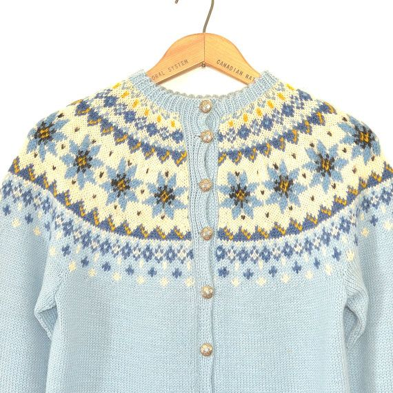Hand Knit Nordic Sweater - Vintage 60s Wool Folk Fair Isle ...