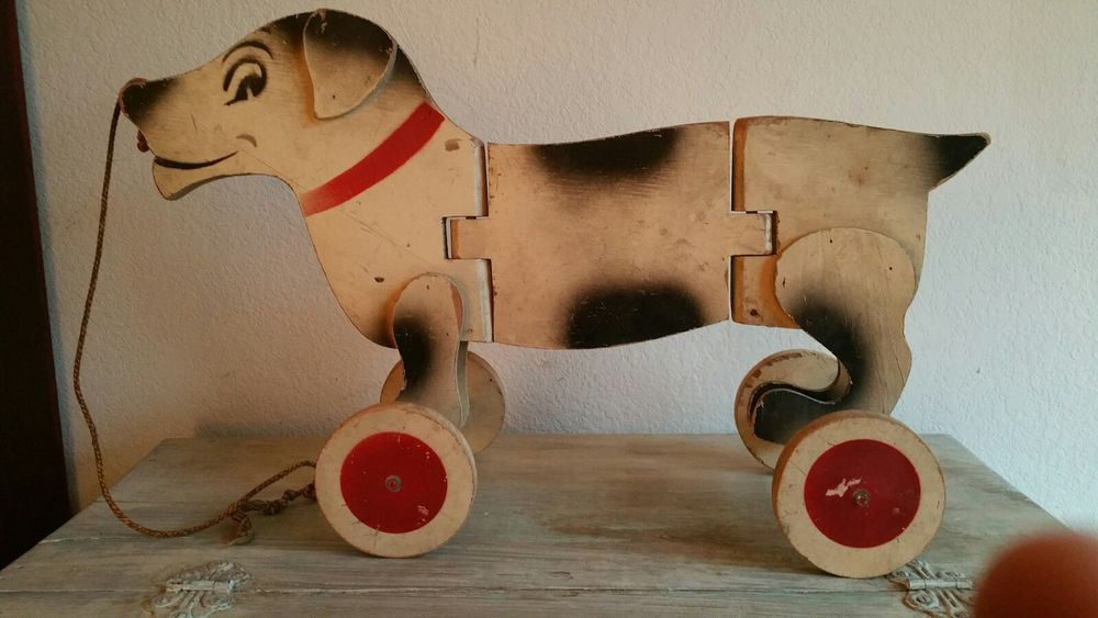 Large Antique Wooden Dog Pull Toy Antique Toys Pull Toy Wooden