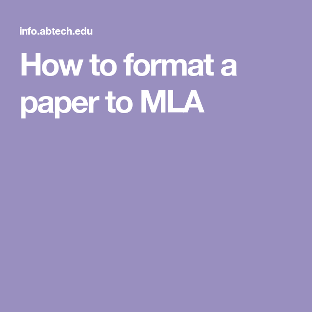 how to format a paper to mla