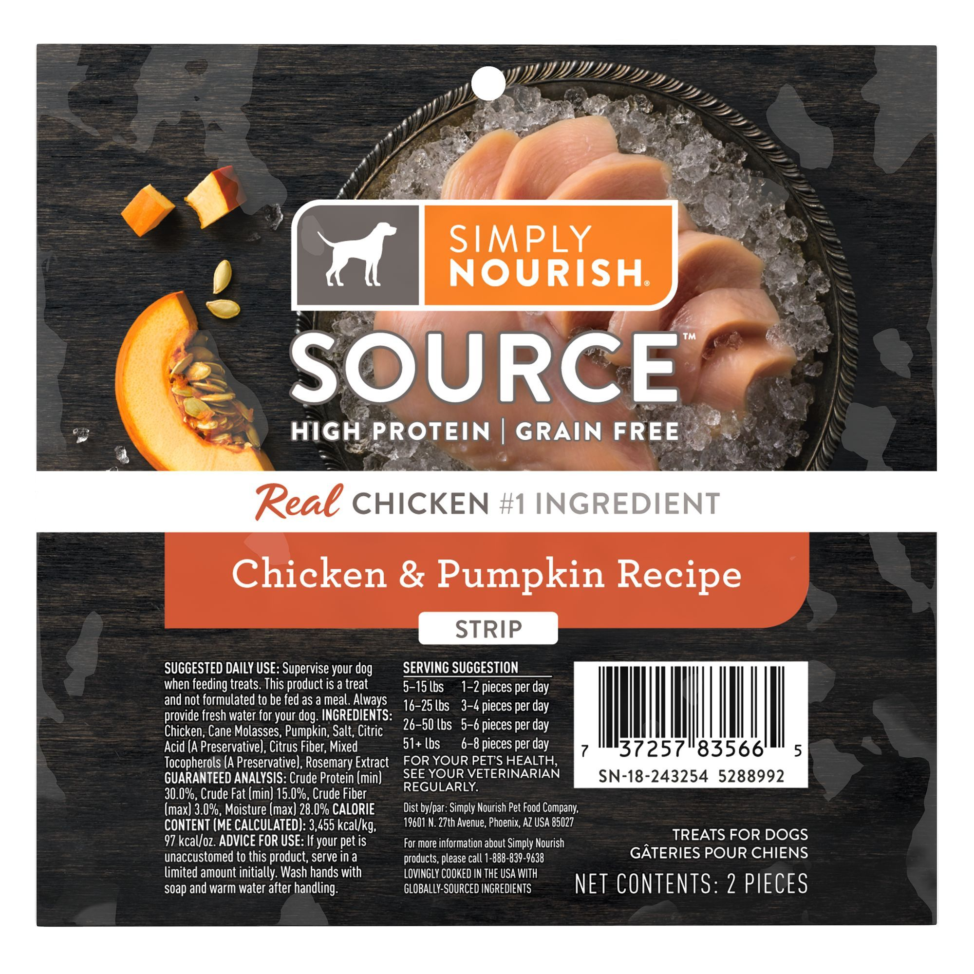 Simply Nourish Source Strips Dog Treat Natural High Protein