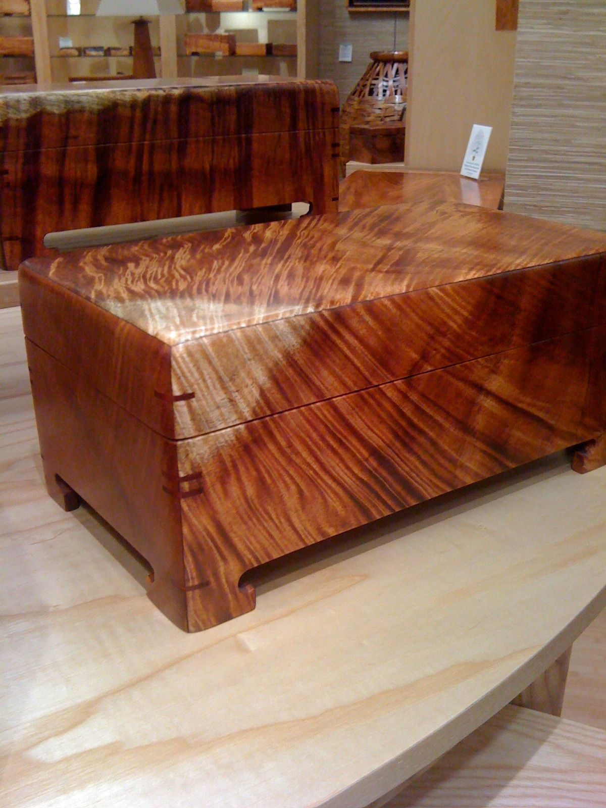 Koa wood jewelry box Jewelry box Pinterest Craftsman Box and