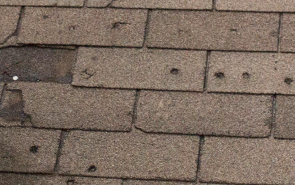 Close Up Of Roof Hail Damage If Your Roof Looks Like This You Need A Local Roofer Who Is Experienced With Dealing With Roof Damage Roof Shingles Roof Repair