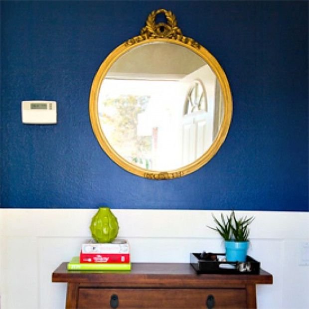 Ledgestone Exterior Accent Wall With Blues And Gold: Navy Blue And Gold Foyer. A Dark Blue Accent Wall Makes A