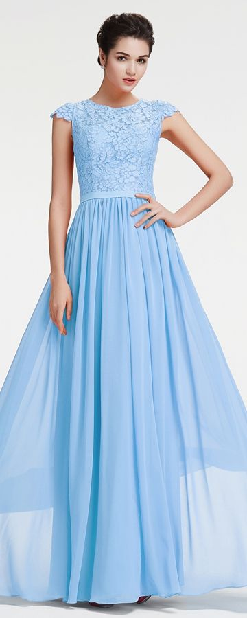fecdbdc9526f Light blue prom dress cap sleeves modest bridesmaid dresses long evening  dresses plus size formal dresses